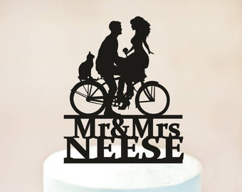 Wedding Bicycle Cake Topper,Wedding Cake Topper,Bride and Groom Silhouettes on Bike,Bicycle Silhouette Cake Topper,custom cake topper (1115)