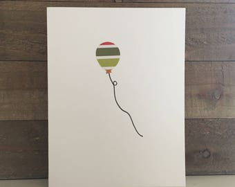 Happy Birthday Card Set / Red,Green,Orange Striped Balloon / Birthday Greeting Card / Birthday Invitations