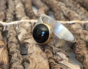 Sterling Textured Onyx Ring with Gold accent
