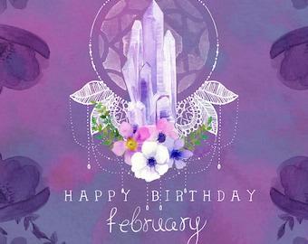 Birthday card for February