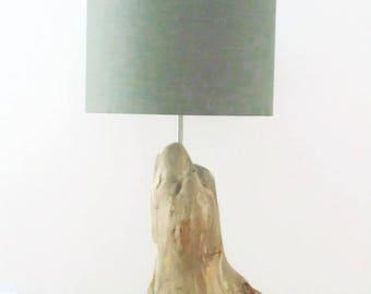 Navy - round shades grey - decorative Driftwood lamp
