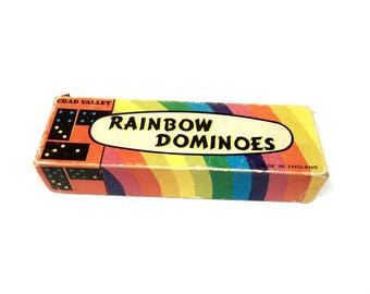 Vintage Dominoes, Rainbow Dominoes Chad Valley Made In England Dominos