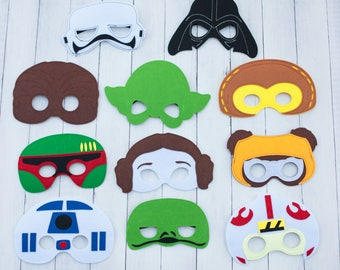 Star Wars Masks Ready To Ship Party Favor Costume, Lot Options Birthday Party Yoda Darth Vader Chewbacca Boba Fett Ready to Ship Gift Bag