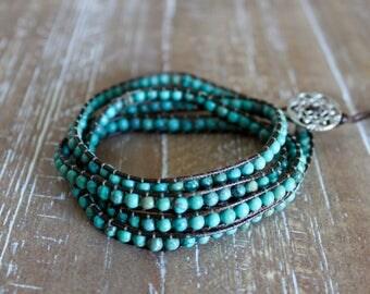 turquoise stone wrap bracelet