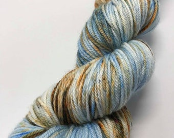 Hand Dyed Yarn Oddball Blue/Brown/Rust Variegated with Speckles 100g/225m DK Double Knitting 75/25% Superwash Merino/Nylon Mulesing Free