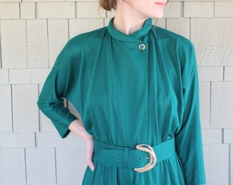 Vintage 80s Bat Wing Shift Maxi Dress With mock Turtle Neck And Belt