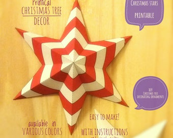Christmas stars, DIY, printable, Christmas decor, diy Christmas ornaments, Christmas art, holiday decor, stars, 4 Christmas tree, RED