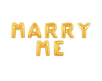 """MARRY ME Giant Letter Balloons Gold Mylar Balloons, 16"""" or 40"""" Balloons, Yes I Do, I Do, Engagement Balloons, Propose, Proposal Banner"""