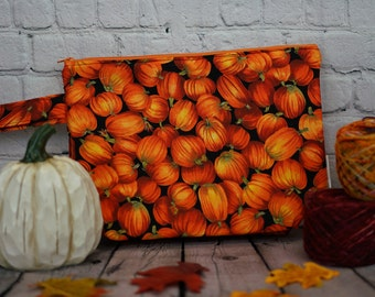 Autumn Pumpkin Small Project bag, Knitting project bag, Crochet project bag,  Zipper Project Bag, Yarn bowl, Yarn tote