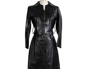 J. Graci vintage black leather suit skirt rockabilly women's 1960s