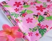 Pink Hawaiian Fabric, Hawaiian Fabric, Moana fabric, Hawaiian, Fabric, Girls, Hula, Plumeria, Palm Trees, Luau, Tropical, Tropical Print