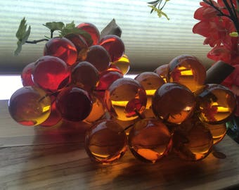 Vintage grapes, set of 2 glass/lucite clusters