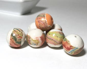 Handmade Polymer Clay Beads, Peach Light Green Gold Marbled Beads, White And Earthy Tone Handmade Beads, Marble Striped Art Beads, Glittery