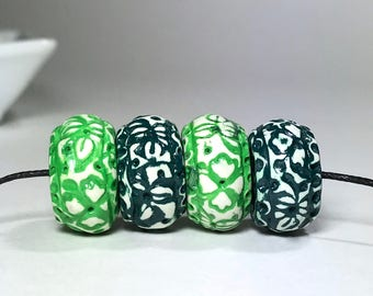 Green And White Flower And Leaf Pattern Textured Art Beads, Handmade Polymer Clay Beads, Artisan Beads, Spacer Bead, Boho Beads, For Jewelry