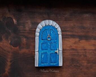 Medieval Blue Fairy Door, Handmade Wood Fairy Door, Miniature Door, Tooth Fairy Gift,  Wall decor, Pretend play