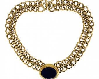 Monet 1980s Gold Plated Chain Vintage Statement Necklace