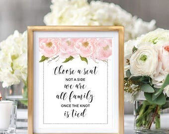 Choose A Seat Not A Side, Wedding Seating Sign, Wedding Ceremony Sign, Printable Sign, Blush Watercolor Peonies, Silver Glitter #SG002