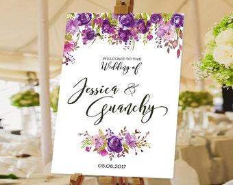Watercolor Floral, Purple Floral Wedding Welcome Sign, wedding chalkboard sign, Rustic Wedding Decor, wedding decoration - US_WS0801