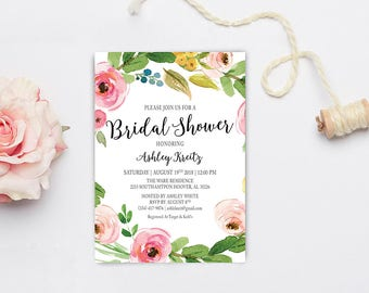 Watercolor Bridal Shower invitation, Bridal shower invitation, Rustic bridal shower invitation, Floral Bridal Shower - US_BI1215