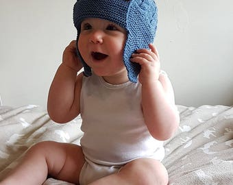 Boys Ear Flap Hat, Knitted Baby Hat, Boys Hat, Hand Knit Baby Hat, Baby Gift, Knitted Aviator Hat, Pilot Hat, Newborn Gift, Beanie Hat