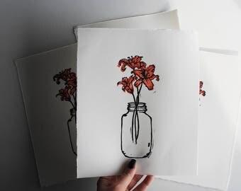 Tiger Lilies in Mason Jar // Linocut Limited Edition Print // Floral Block Print