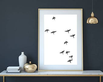 Bird print, minimalist print, scandinavian print, bird wall art, bird poster, bird photography, birds decor, parrot print, flying birds