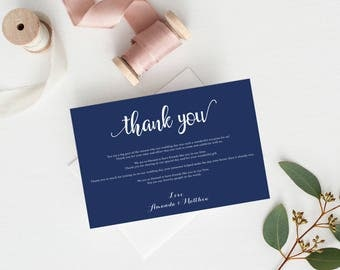 Wedding thank you notes - Navy Wedding Thank You - Navy Wedding - Thank You Sign - Wedding Favor - Downloadable wedding #WDH812296