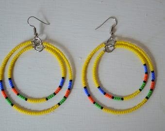 African Maasai Beaded Hoop Earrings | African jewelry | Ring earrings | Tribal Earrings | Ethnic Earrings | Gift for Her