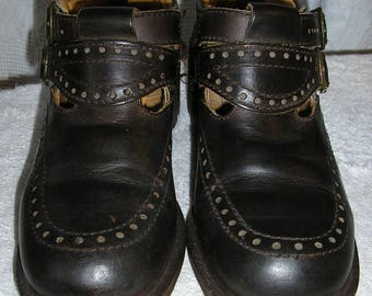 Vintage 80s, Doc Marten, brown, double buckle, heels, shoes, size 4 UK, 6 US, Made in England