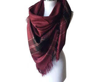 Oversized Blanket Scarf Burgundy,Oversized Plaid Tartan Scarf, Gift for Women or Men, Unisex Shawl, Wrap Scarf, Zscarf