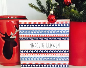 Carden Nadolig Glas a Coch - Blue and Red Christmas Card