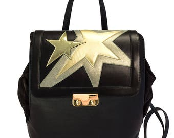 Black leather Backpack Stella-Women's leather backpack made by handmade-women's handmade leather bag