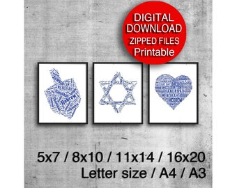 Printable Blue Hanukkah Decorations, Set of 3 Prints, Printable Holiday, Chanukah, 5x7 8x10 A4 A3 11x14 16x20