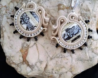 soutache earrings beige and black, soutache, soutache jewelry, handmade earrings, soutache jewels, soutache embroidery