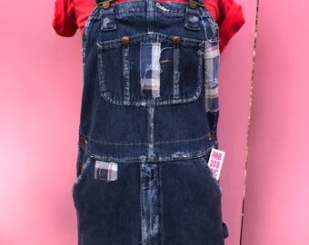 overall dress/patched overalldress/denim dress/bib dress/vintage denim dress/wrangler denim dress/fab208nyc/fab208