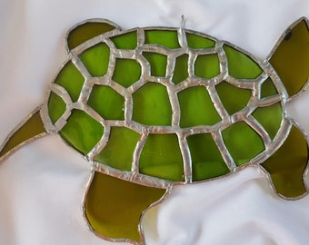 Green Stained Glass Turtle