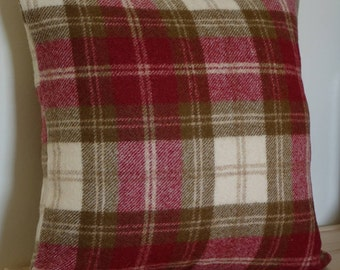 Red and white square woollen cushion with a fibre Insert, Red Plaid Pillow, Scatter cushion, Tartan Pillow, wool cushion, scatter pillow