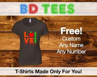 sale Teacher shirt - love school personalized raglan shirt for teachers MSCL-025-R.