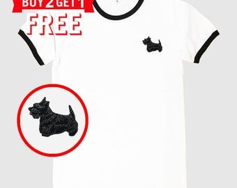Scottish Terrier Dog Embroidered Ringer T-Shirt by 24PlanetsStudio