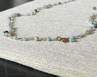 Amazonite in Blues and Grays on Sterling Links Necklace