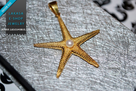 Freshwater Pearl Sea Star Fish Sterling Silver Gold plated Pendant Jewelry Unisex Marine Hope Freedom Greek Summer Greece Seestern Starfish