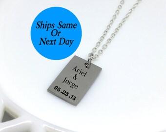 Couple Name Necklace, Couple Necklace, Couple Jewelry, Date Necklace, Engraved Necklace, Engraved Jewelry, Custom Necklace, Girlfriend Gift