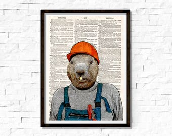 Beaver the construction workers Print , Beaver Art Print, Beaver wall art, vintage dictionary page book art print.