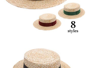 Boater  Straw Hat, Sun and summer hat, women's or men's hat