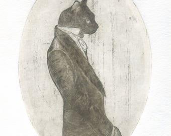 """Gentleman"" engraving / etching/Gentleman/cat/cats/printmaking/engraving/print art/cat/beautiful/beautiful cat/lovely cat/Black Cat / cat Gentleman"