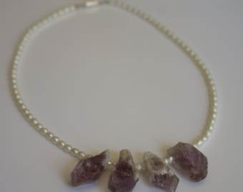 Strand of Fresh Water Pearls and Amethyst Rough Necklace.