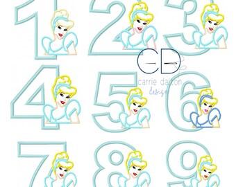 Cinderella Applique Design, Cinderella Embroidery Design, Princess Applique Design