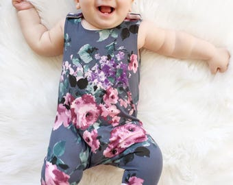 Baby Harem Romper |  Floral Baby Romper | Floral Romper | Baby Girl Clothes |  Baby Shower Gift |  Coming Home Outfit | Floral Baby Romper