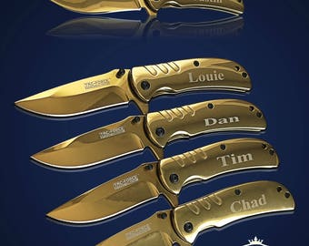 3 Personalized Knifes - 3 Groomsmen engraved gift - Usher & Officiant gift - Personalize engraved pocket knife - Wedding and Birthday gift