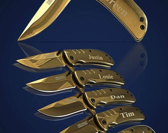4 Personalized Knifes - 4 Groomsmen engraved gifts - Best Man & Officiant gift set - Wedding Birthday, Usher Bridesmaid gift set of 4